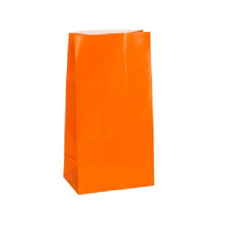 Sacs de papier couleur ORANGE - 12 / Pqt